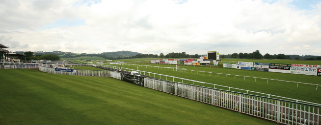 Chepstow Racecourse is set in beautiful countryside. The picture is taken from the stands, ooking towards the Wye Valley and Wyndciffe
